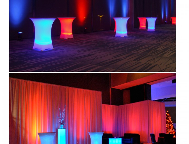 Lighted cocktail tables